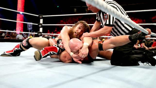 Daniel Bryan faced Ryback in the last of his 3-match gauntlet on Raw.  He won by disqualification. (Courtesy WWE)