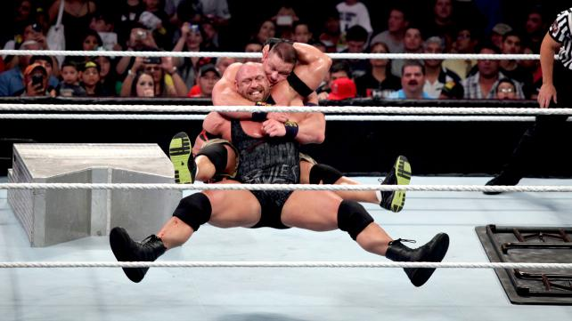 WWE Champion took on Ryback in a Tables Match on Raw.  (Courtesy WWE)