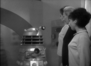 The Doctor, Susan and Barbara try to trick the guard dalek.