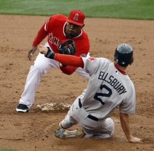 Los Angeles Angels vs Boston Red Sox in Anaheim, California, baseball
