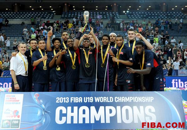The U.S. Under-19 basketball team celebrates their gold medal victory over Serbia. (Photo courtesy of FIBA.com)
