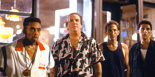 From left to right: Mookie (Lee), Sal (Aiello), Vito (Richard Edson) and Pino (Turturro)