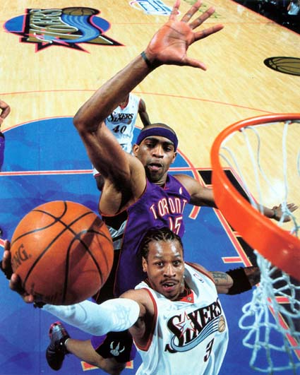 Vince Carter and Allen Iverson face off in the 2001 NBA Playoffs.