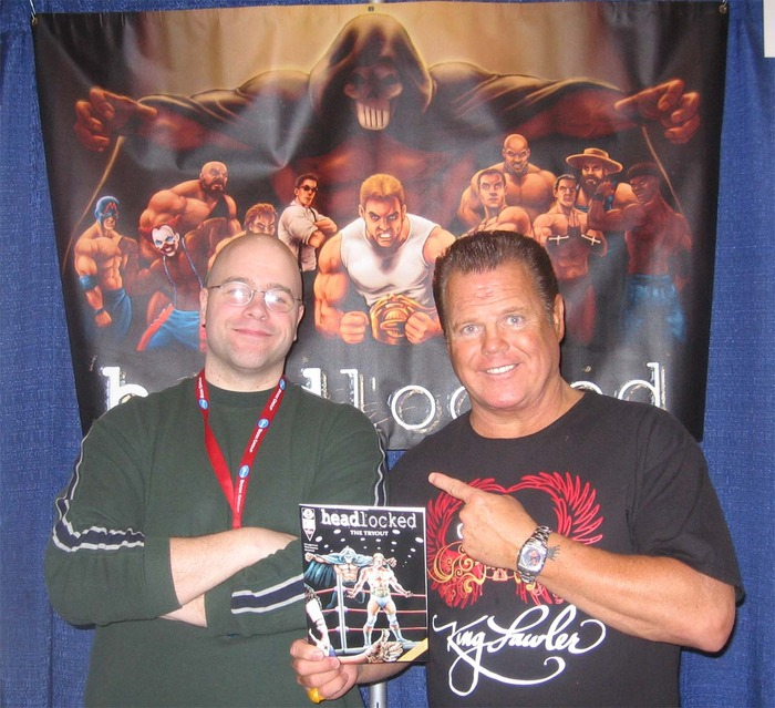 """Kingston, left, and WWE Hall of Famer Jerry Lawler, the cover artist for """"Headlocked: The Last Territory."""""""