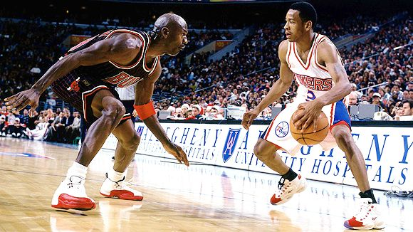 Michael Jordan guards Allen Iverson in his rookie year in Philadelphia.