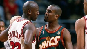 Payton and Jordan have a chit chat during the 1996 NBA Finals.
