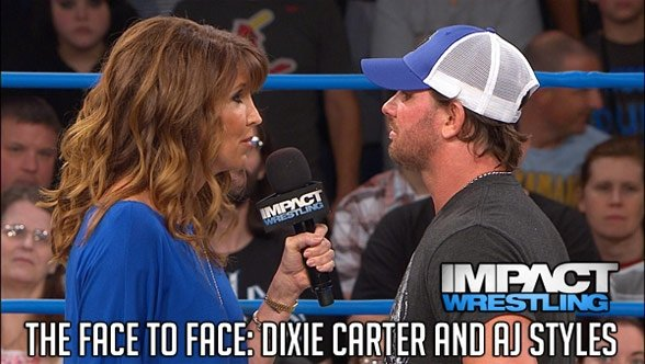 The #1 contender airs his grievances to the boss, and she definitely responds to them.  (Courtesy TNA Wrestling)