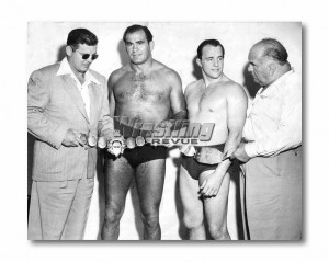 "Leroy McGuirk next to Lou Thesz, Verne Gagne, and Ed ""Strangler"" Lewis."