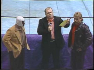 Watts moderates a feud between Mr. Wrestling II and Magnum T.A.