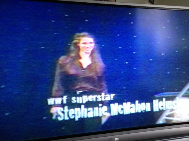Stephanie McMahon-Helmsley struts out to announce the winners