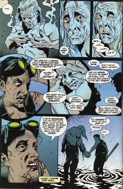 Our hero meets Solomon Grundy, distinctly rendered by Tony Harris.
