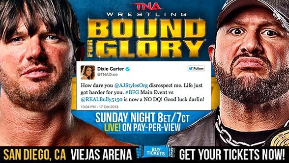 Dixie got so pissed off at AJ, Sunday's title match is now NO DQ.  Check the tweet. (Courtesy TNA Wrestling)