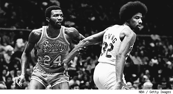 """Marvin """"Bad News"""" Barnes clashes with the Doctor, Julius Erving."""