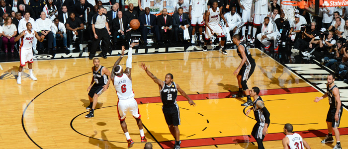LeBron James buries a jump shot late in Game 7 of the NBA Finals against the San Antonio Spurs.