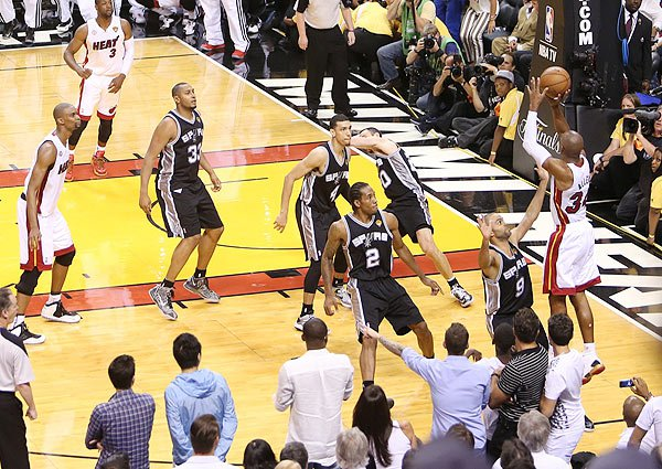 Ray Allen's clutch three-pointer in Game 6 of the 2013 Finals, the final one under the 2-3-2 format.