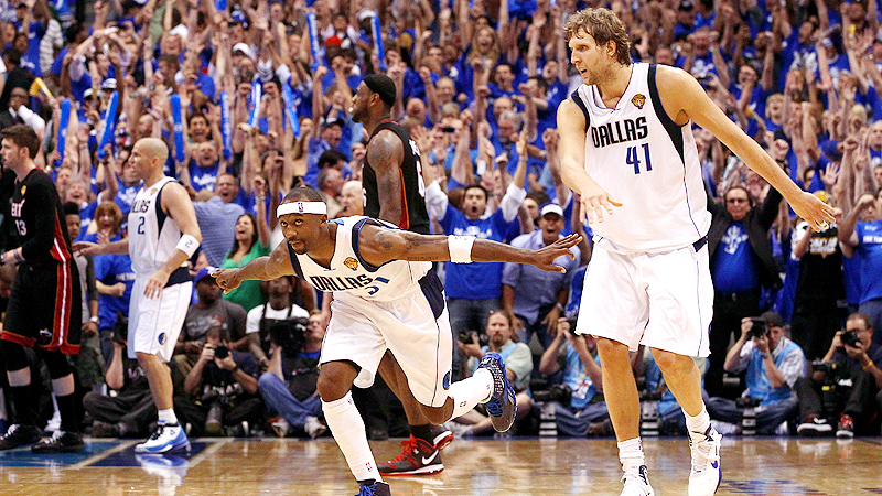 "Jason ""The Jet"" Terry celebrates with Dirk Nowitzki after hitting a dagger three-pointer against the Miami Heat in the 2011 NBA Finals."