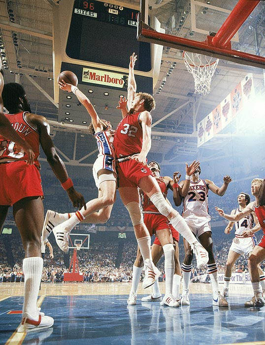 Bill Walton during the 1977 NBA Finals against the Sixers. His legendary career was renowned for being cut short by injury far too soon.