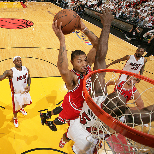 Rose attacks the basket against the Miami Heat in the 2011 Eastern Conference Finals.
