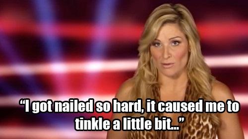 An embarrassing bladder bump befell Natalya