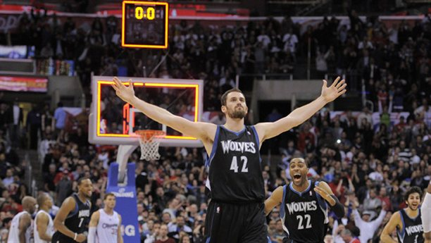 Timberwolves big man Kevin Love celebrates a game-winning shot at the buzzer over the L.A. Clippers. Love is one of the best three-point shooters in the league.