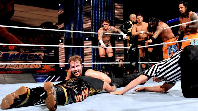 What begins as a WWE tag team championship match escalates all the way to a 12-man tag match. You have to see this. [Photo Courtesy of WWE.com]