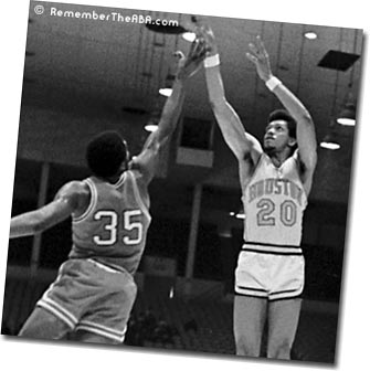 Former ABA great Stew Johnson playing for the Houston Mavericks. He was one of the first power forwards who primarily shot from the outside.