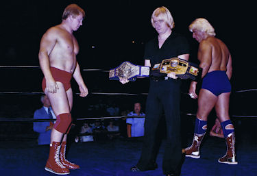 WWF Champion Bob Backlund and NWA Champion Ric Flair get ready for an interpromotional match.