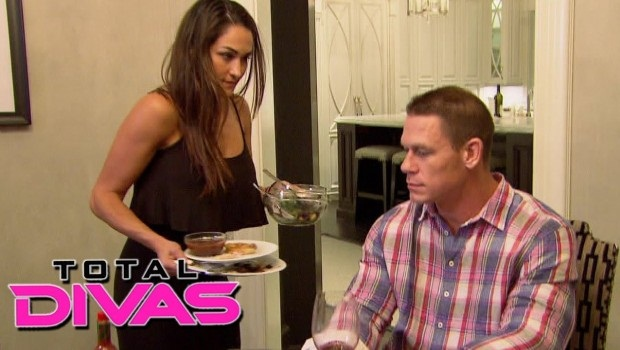Cena is aghast that Nikki made him dinner, requiring him to immediately clean up his marble counters