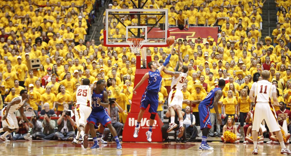 Iowa State's Royce White shoots over Kansas's Jeff Withey in a 72-64 win. It was the signature moment in Iowa State's best season in years.