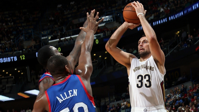 New Orleans Pelicans power forward and three-point specialist Ryan Anderson shoots over the Philadelphia 76ers.