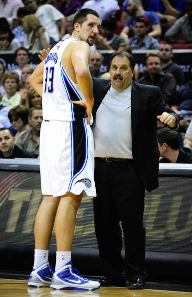 Stan Van Gundy instructs Ryan Anderson as members of the Orlando Magic. It was under Van Gundy that Anderson found his calling as an NBA player.