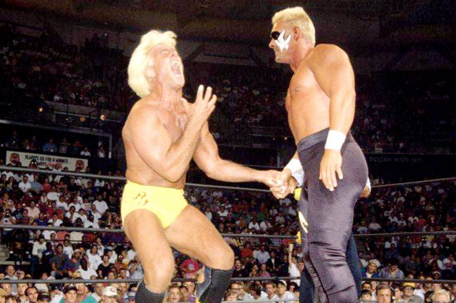 Sting and Ric Flair during their unification of the WCW Championship and Big Gold Belt at the Clash of the Champions in 1994.