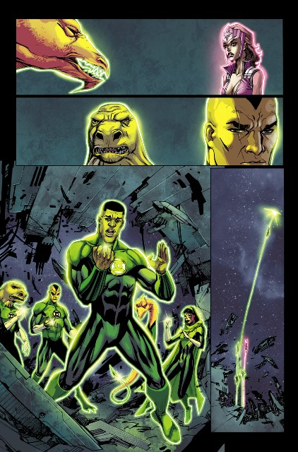 Exclusive page from Green Lantern Corps #27! Art by Bernard Chang.