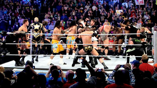 Cue the obligatory ring-filled brawl to end the show leading up to the Royal Rumble! [Photo courtesy of WWE.com]