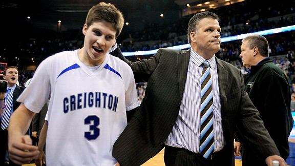Doug has a moment with his father Greg McDermott, head coach of the Creighton Bluejays.