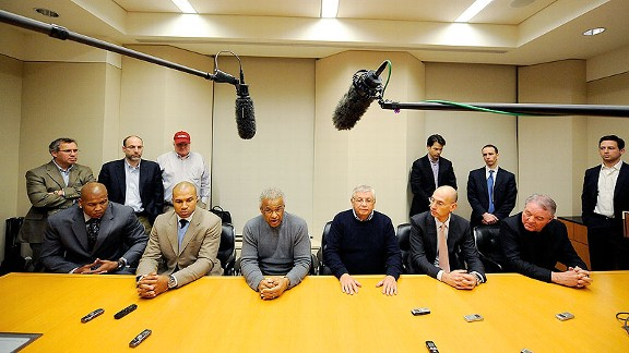 As the 2011 lockout is declared over, Adam Silver sits next to David Stern, who announces that this is the last Collective Bargaining Agreement he will take part in.
