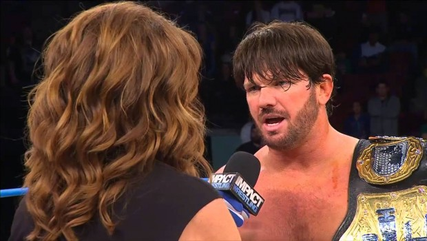 """After winning the TNA World Heavyweight Title at Bound for Glory, A.J. Styles """"walks out"""" on Dixie Carter with the gold. A few months later, Styles was actually gone from the company."""