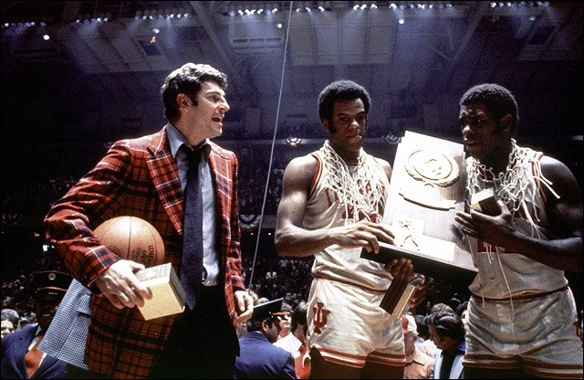 35-year-old Bobby Knight celebrates with 1976 Most Outstanding Player Scott May after their Indiana Hoosiers finished the season undefeated. It has not been duplicated since.