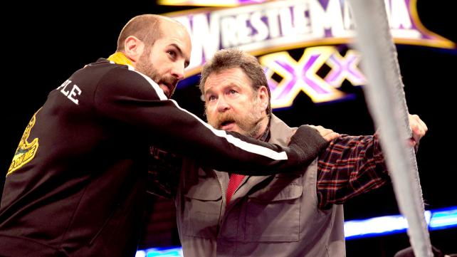 Cesaro gets some last-minute instructions from Zeb Colter as he prepares for the biggest match in his WWE career to date against Randy Orton. [Photo courtesy of WWE.com]