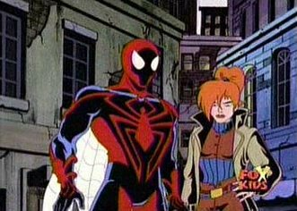 Spider-Man and his new main squeeze, Counter Mary Jane. That's not actually her name, but it might as well be.
