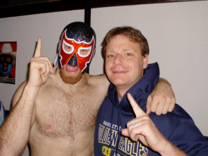 The author and his fellow adoption advocate, El Generico.