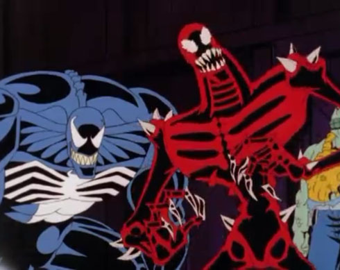 The new, bizarre redesigns for Venom and Carnage.