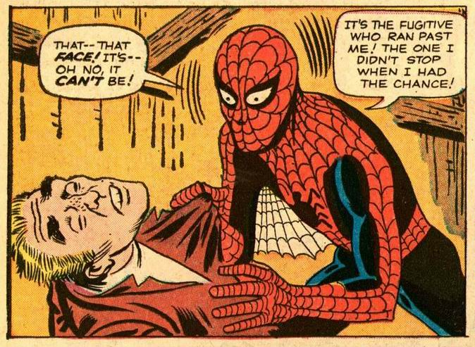 A scene from the iconic Amazing Fantasy #15.