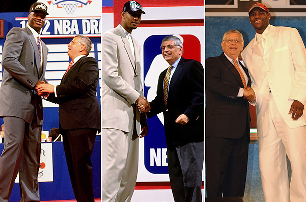 Shaquille O'Neal in 1992, Tim Duncan in 1997, and LeBron James in 2003 were the most coveted players of their respective draft classes. Of the three teams that selected them, all of them had lost at least 60 games the previous season.