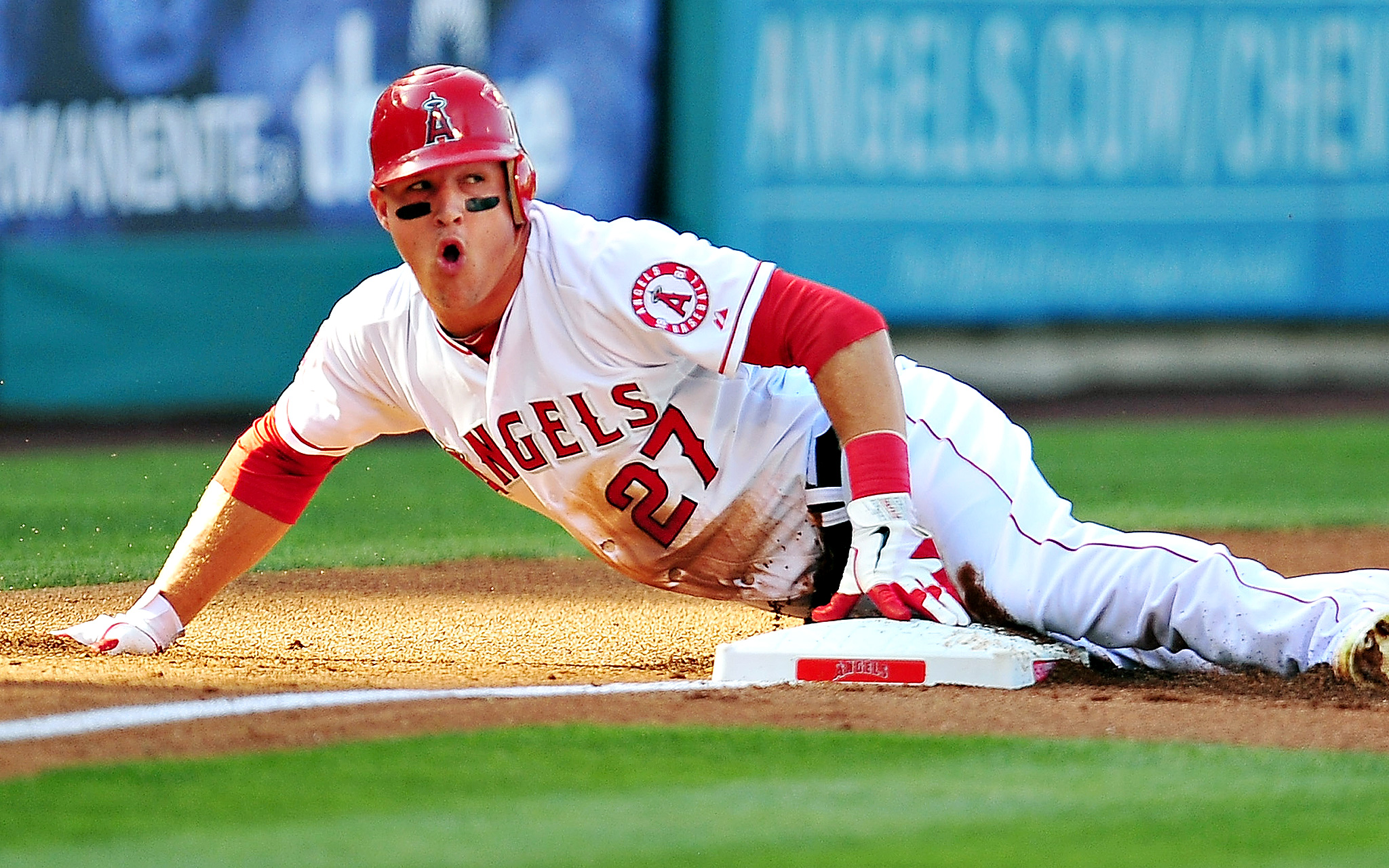 Mike Trout aims to dominate the basepaths (and batter's box) again in 2014.