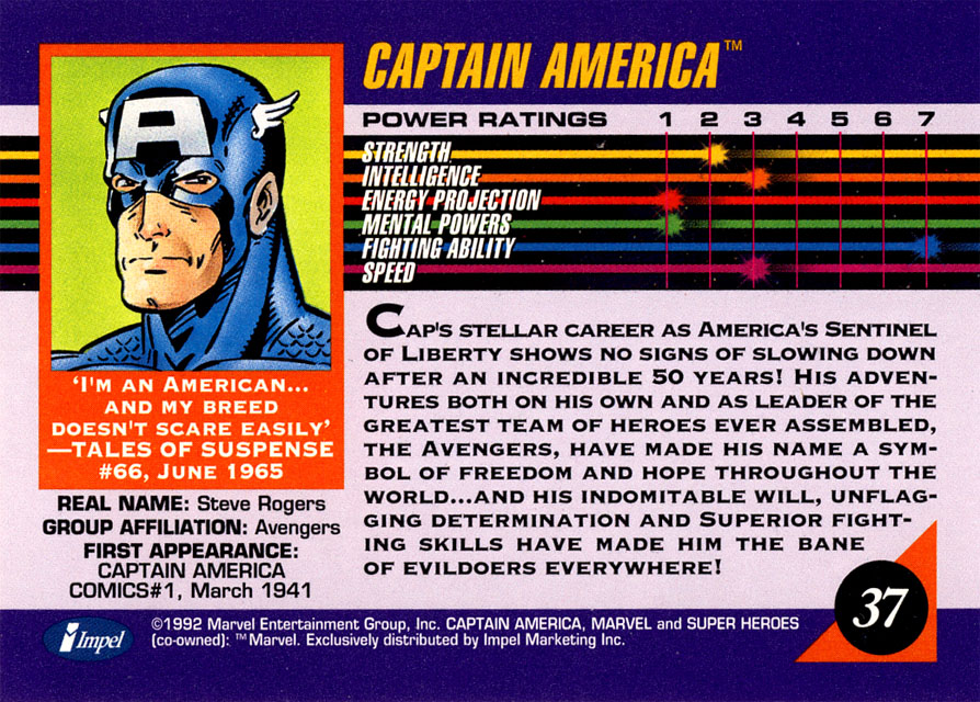 """He has a Fighting Ability of 7! Galactus has 1. Captain America can beat up Galactus!"""