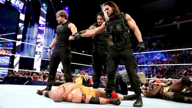 Maybe putting the Shield in another crazy handicap match wasn't such a good idea. [Photo courtesy of WWE.com]