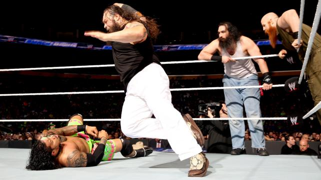 Five days after defeating the Shield on Raw, the Wyatt family take on Bray Wyatt's pet project John Cena and the Usos in tonight's main event! [Photo courtesy of WWE.com]