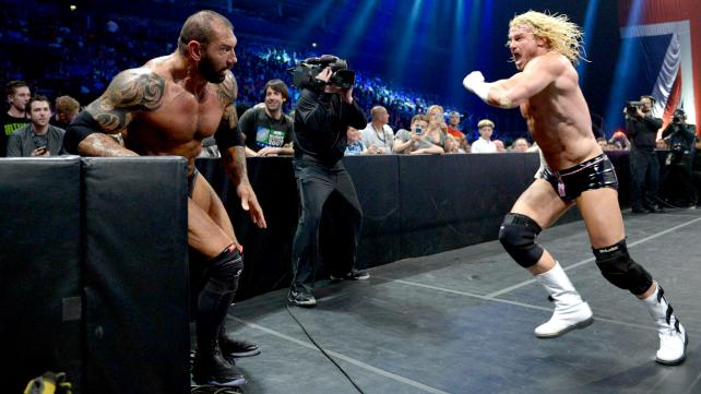 From across the pond, Batista and Dolph ZIggler tear it up in a no-DQ match. [Photo courtesy of WWE.com]