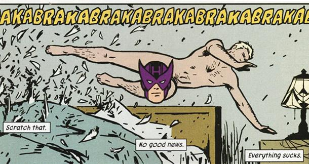 Kind of like my morning routine, minus the bullets and masked purple face hovering over my crotch.